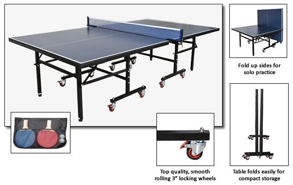 9 Foot Back Stop Table Tennis Table with Accessories