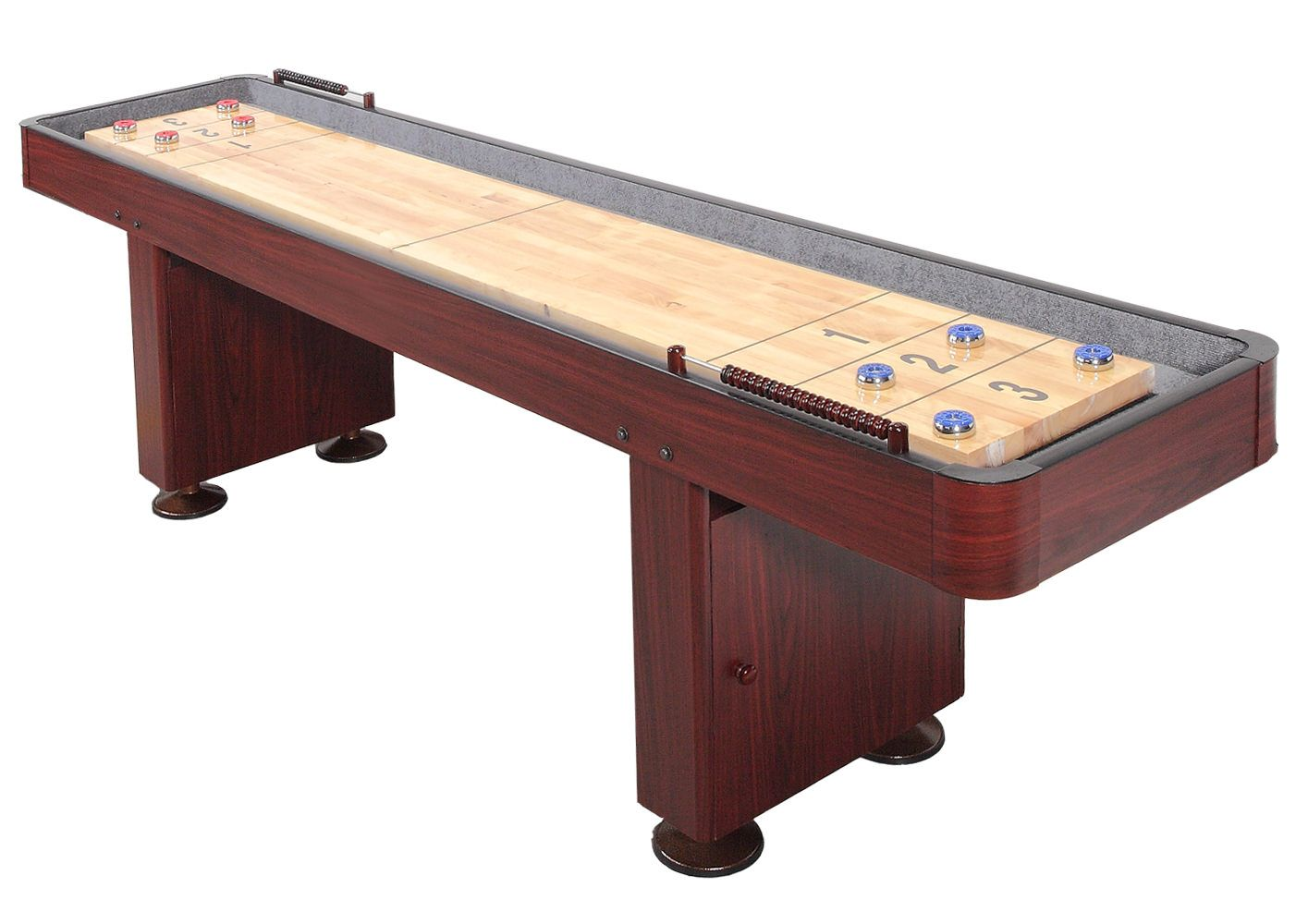 9 Foot Deluxe Shuffleboard Table - Dark Cherry