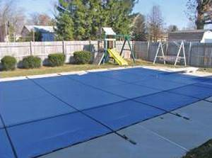 PoolTux Royal 14 ft x 28 ft Mesh Safety Cover - Blue - 12 yr Warranty