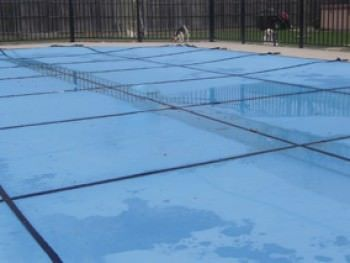 18 ft x 36 ft Leight Weight Solid Pool Safety Cover - Blue - 15 yr - Center End Step