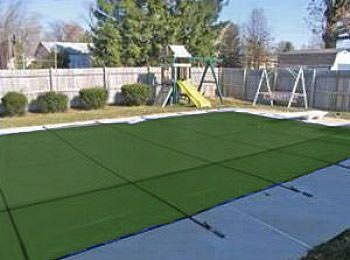 PoolTux Royal 14 ft x 28 ft Mesh Safety Cover - Green- 12 yr Warranty