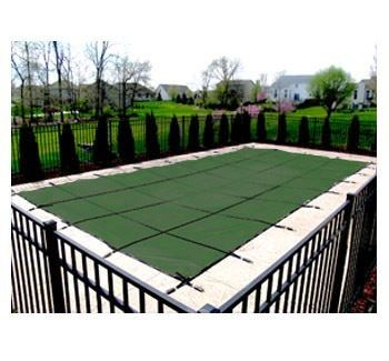PoolTux King 16 ft x 34 ft Mesh Safety Cover - Green - 15 yr Warranty