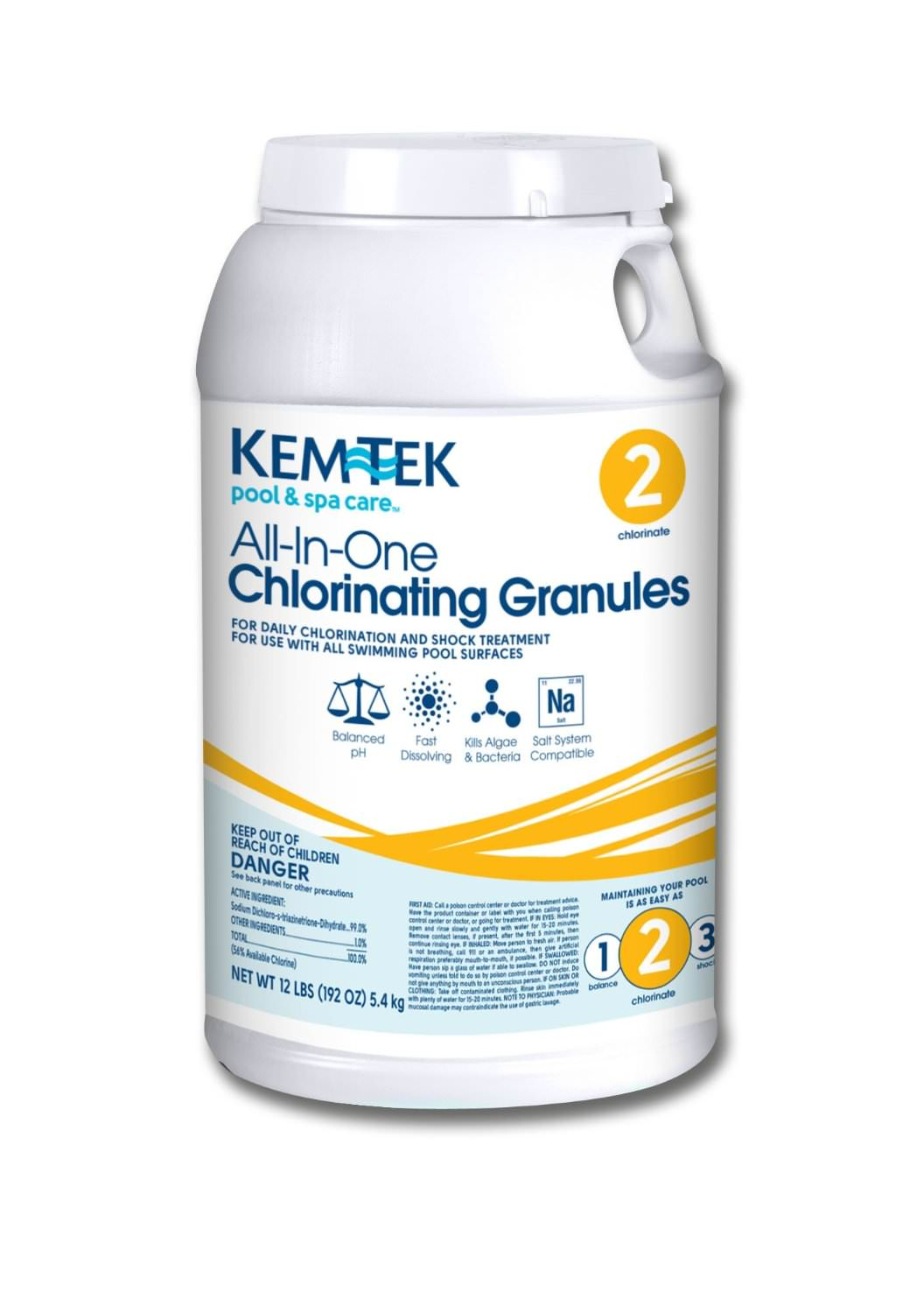 Kem-Tek All In One Chlorinating Granules - Granular Chlorine - 12 lbs