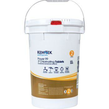 "Kem-Tek Power 99 Individually Wrapped 3"" Chlorine Tablets - 50lb"