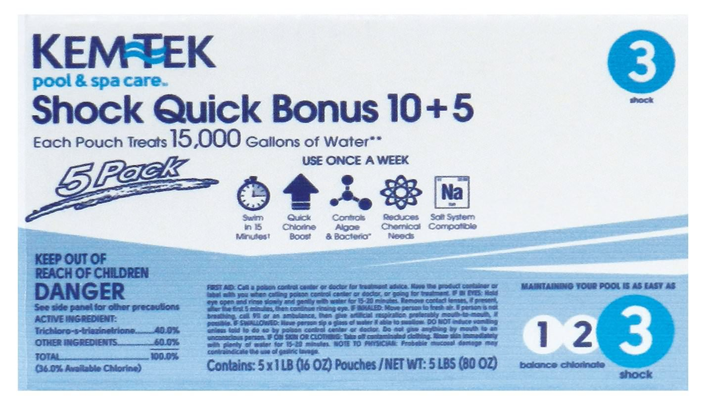 Kem-Tek Shock Quick 10+5 - 15,000 Gallons per Bag - 5 pack