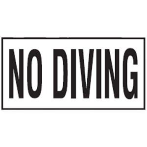 Pool No Diving Non-Skid Ceramic Tile - 6 In x 12 In