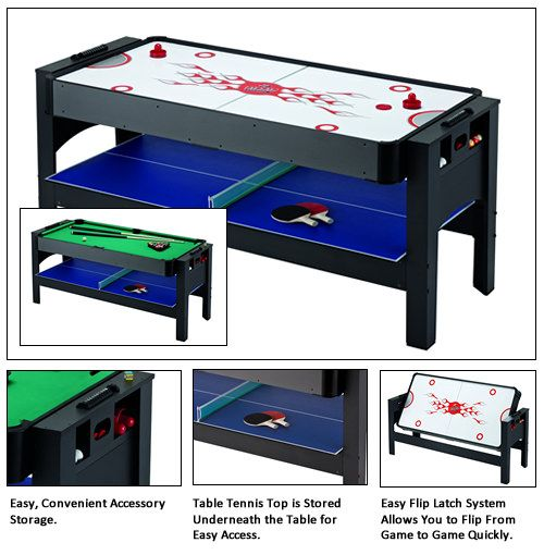 Triple Threat 3-In-1 Flip Table 6 Foot - Pool / Tennis / Air Hockey