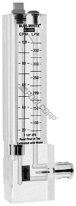 Blue-White Industries BLU-56-4053 - Blue-White 2 Inch PVC Vertical Upward Flowmeter 40-150 GPM - U-30200P