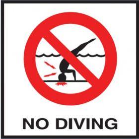 Pool No Diving Image Non-Skid Ceramic Tile - 6 In x 6 In