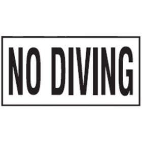 Pool No Diving Non-Skid Ceramic Tile - 6 In x 12 In