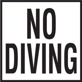 Pool No Diving Non-Skid Ceramic Tile - 6 In x 6 In