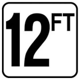 Pool 12 FT Depth Marker Vinyl Stick On 6 In x 6 In - Deck