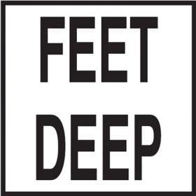 Pool Depth Marker - Feet Deep - Non-Skid Ceramic Tile - 6 In x 6 In