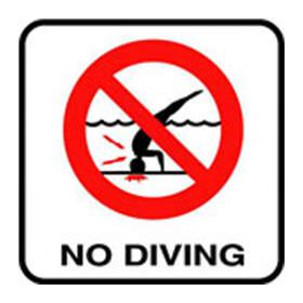 Pool No Diving Image Vinyl Stick On 6 In x 6 In - Deck